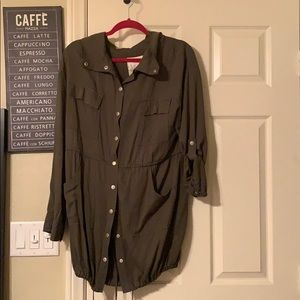Long sleeve button up shirt/dress WITH POCKETS